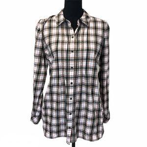 J. JILL plaid button down tunic with pockets